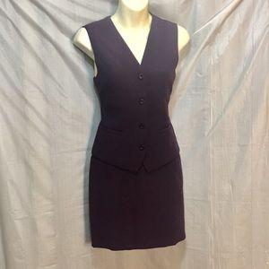 Sexy polished skirt vest set suit S 4/6  purple